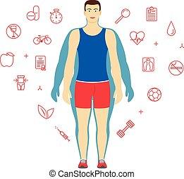 ciało, albo, komplet, loss., ciężar, ikony, concept., po, dieta, transformacja, tło., projektować, człowiek, stosowność, zdrowie, kreska, sport, template., przed