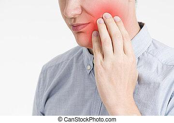ciało, ból zębów, ból, ludzki, człowiek