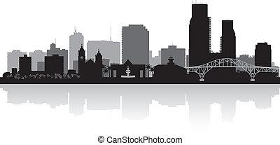 ciało christi, texas, miasto skyline, sylwetka