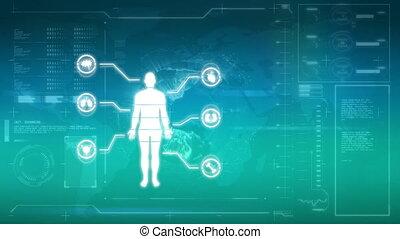 ciało, ilustracja, ludzki, organy, etykiety