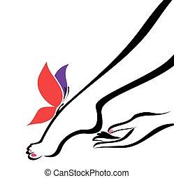 ciało, ilustracja, ręka, wektor, troska, stopa