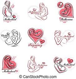 ciało, kobieta, illustration., brzemienny, handel, medyczny...