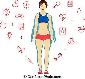 ciało, kobieta, loss., ciężar, concept., po, dieta, template., projektować, stosowność, dziewczyna, przed, albo, transformacja