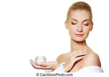ciało, kobieta, zwracający się, moisturizer, ner, śmietanka