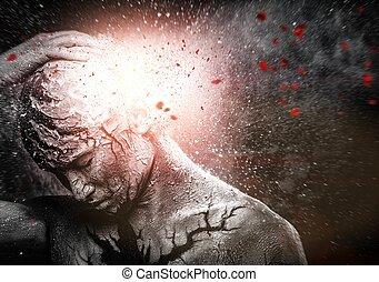 ciało, konceptualny, duchowna sztuka, człowiek