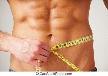 ciało, mierniczy, szczelnie-do góry, jego, fit., keeping,...