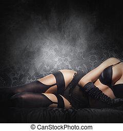 ciało piękne, kobieta, rocznik wina, na, młody, bielizna,...