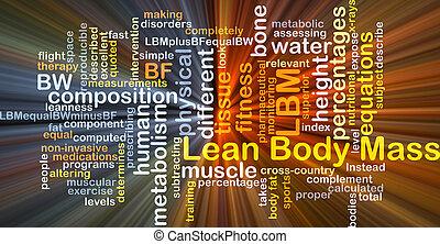 ciało, pojęcie, chudy, jarzący się, masa, tło, lbm
