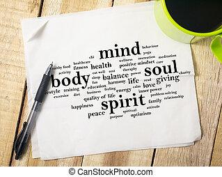 ciało, pojęcie, motivational, pamięć, dusza, cytuje, słówko, duch