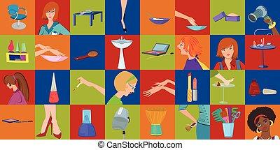 ciało, salon, piękno, strony, chorągiew, mozaika