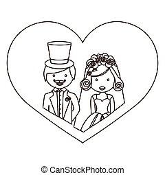 ciało, serce, rys, sylwetka, para, żonaty, pół, rysunek