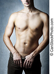 ciało, sexy, młody, muskularny, człowiek