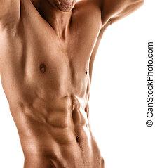 ciało, sexy, muskularny, człowiek