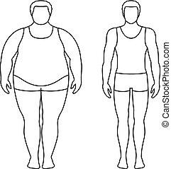 ciało, sport, loss., ciężar, pomyślny, concept., po, tłuszcz, ilustracja, contours., wektor, boys., dieta, przed, samiec, szczupły, człowiek