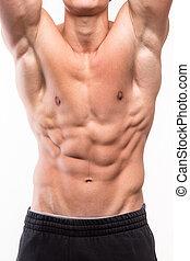 ciało, sześć beli, muskularny, człowiek