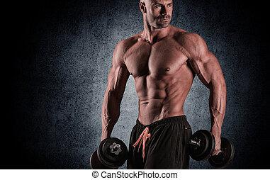 ciało, wiek średni, muskularny, człowiek
