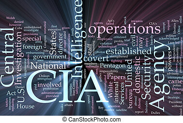 CIA Central Intelligence Agency glowing - Word cloud concept...
