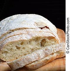 Ciabatta bread on cutting board