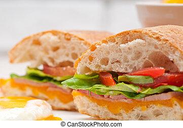 ciabatta panini sandwich eggs tomato lettuce - fresh...