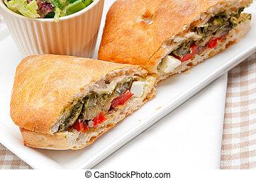 ciabatta panini sandwichwith vegetable and feta - Italian ...