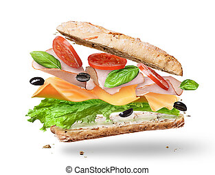 Ciabatta Sandwich with Lettuce, Tomatoes, Ham and Cheese...