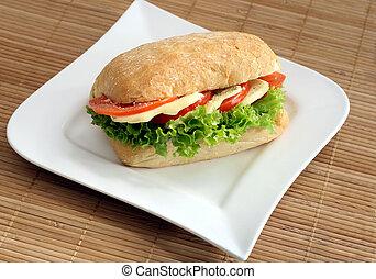Ciabatta sandwich with mozzarella and tomatoes