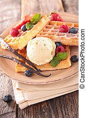 cialda, frutta, bacca, gelato