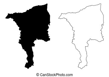 Ciales municipality (Commonwealth of Puerto Rico, Porto Rico, PR, Unincorporated territories of the United States) map vector illustration, scribble sketch Ciales map