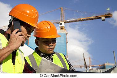 cianografia, dall'aspetto, lavoratore costruzione, luogo