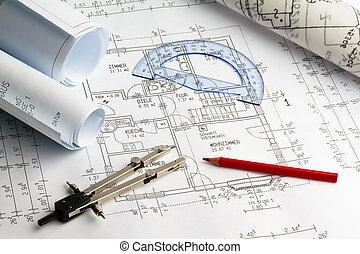 cianografia, di, uno, house., costruzione