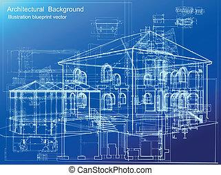 cianografia, fondo., vettore, architettonico