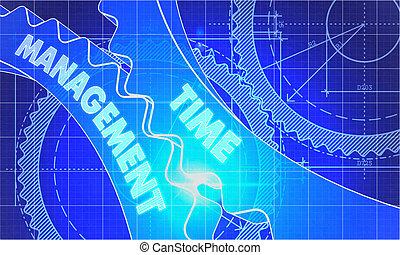 cianografia, gears., concept., amministrazione, tempo