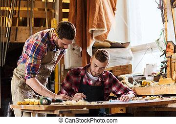 cianografia, righello, officina, carpentieri