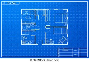 cianografia, schizzo, casa, stile, piano, architettura
