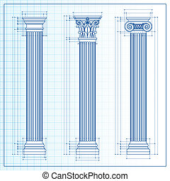 cianografia, schizzo, colonne, classico