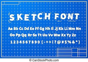 cianografia, schizzo, disposizione, piano, bianco, font