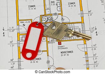 cianotipo, apartamento, llave