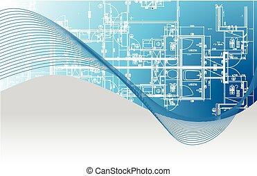 cianotipo, architectural., ilustración