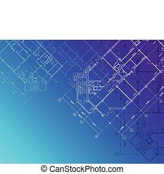 cianotipo, arquitectónico, plano de fondo