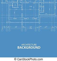 cianotipo, arquitectura, plano de fondo