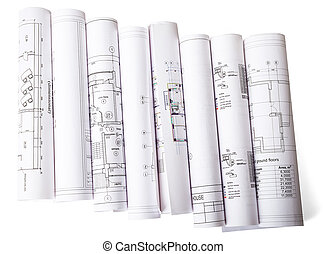 cianotipo, blanco, rollos, arquitectónico