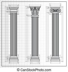 cianotipo, bosquejo, columnas, clásico