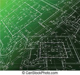 cianotipo, casa, fondo., vector, verde, plan