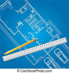 cianotipo, casa, vector, plan