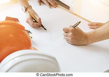 cianotipo, concept., pluma, lugar de trabajo, construcción, arquitecto, arquitectónico, equipo, freehand, dibujo