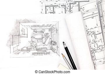 cianotipo, concepto, dibujo, arquitectónico, renovación casera, rollos