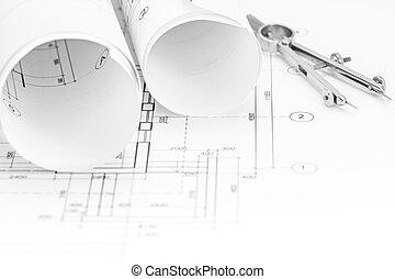 cianotipo, copass, piso, rollos, plan, arquitectónico, escritorio, dibujo