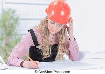 cianotipo, corporación mercantil de mujer, escritorio de oficina, dibujo