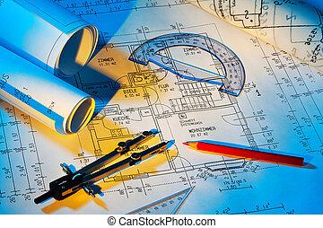 cianotipo, de, un, house., construcción