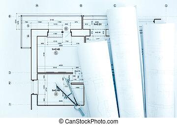 cianotipo, dibujo, plan, arquitectónico, compás, rollos